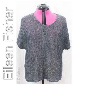 Eileen Fisher Blue & Silver Linen Blend Knit Top M